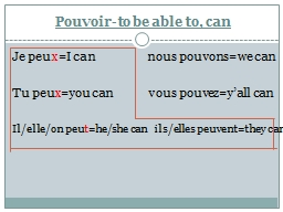 Pouvoir -to be able to, can