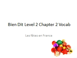 Bien  Dit  Level 2 Chapter 2 Vocab