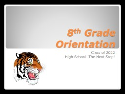 8 th  Grade Orientation Class of 2022