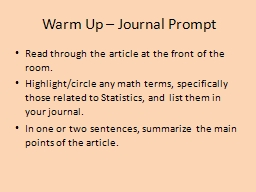 Warm Up � Journal Prompt