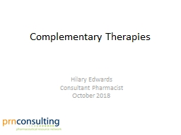 Complementary Therapies Hilary Edwards