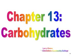 1 Chapter 13:  Carbohydrates