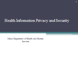 Health Information Privacy and Security