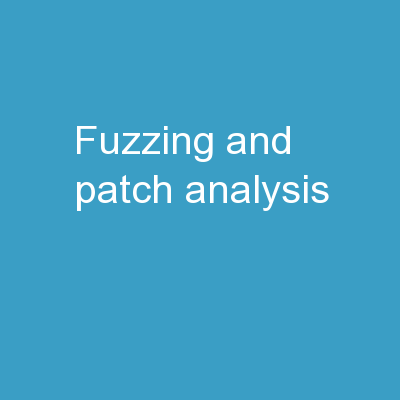 Fuzzing and Patch  Analysis: