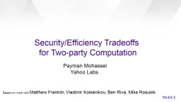 Security/Efficiency Tradeoffs PowerPoint PPT Presentation