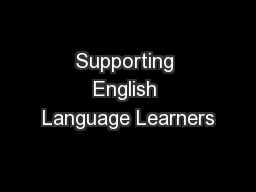 Supporting English Language Learners