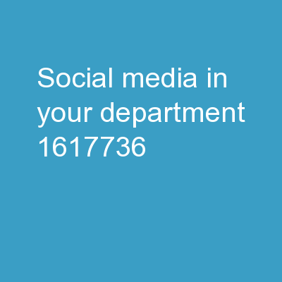 Social Media in Your Department