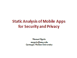 Static Analysis of Mobile Apps