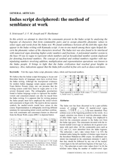 GENERAL ARTICLES Indus script deciphered the method of