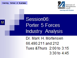 Session06: Porter 5 Forces Industry Analysis
