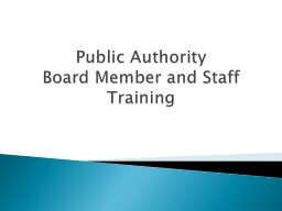 Public Authority  Board Member and Staff Training