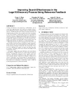 Improving Search Effectiveness in the Legal EDiscovery Process Using Relevance Feedback Feng C