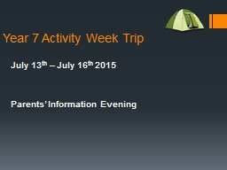 Year 7 Activity Week Trip