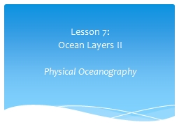 Lesson 7:  Ocean Layers II