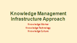 Knowledge Management  Infrastructure Approach