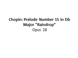 Chopin: Prelude  Number 15 in