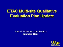 ETAC  Multi-site Qualitative Evaluation Plan