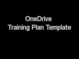 OneDrive Training Plan Template