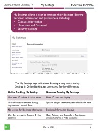Online Banking My Settings