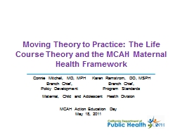 Moving Theory to Practice: The Life Course Theory and the MCAH Maternal Health Framework