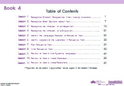 Book 4 Table of Contents
