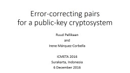 Error-correcting pairs for a public-key cryptosystem