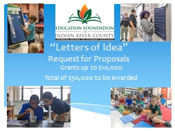 """""""Letters of Idea"""" Request for Proposals"""