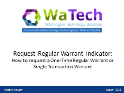Request Regular Warrant Indicator: