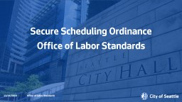 Secure Scheduling Ordinance