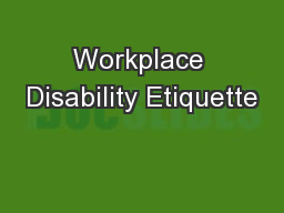 Workplace Disability Etiquette