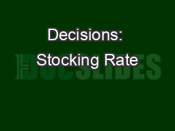 Decisions: Stocking Rate