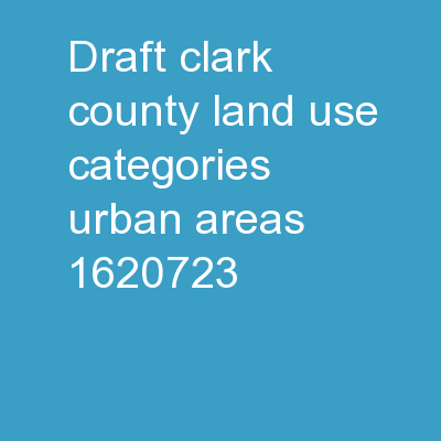 DRAFT Clark County Land Use Categories � Urban Areas