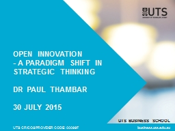 Open Innovation - a paradigm shift in strategic thinking