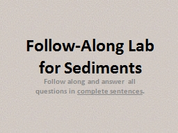 Follow-Along Lab for Sediments