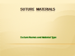 SUTURE   MATERIALS Suture Names and Material Type