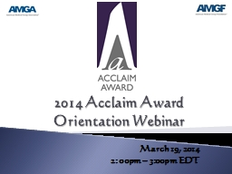 2014 Acclaim Award Orientation Webinar