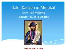 Saint Damien of Molokai Town Hall Meeting