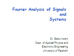 Fourier Analysis of Signals and