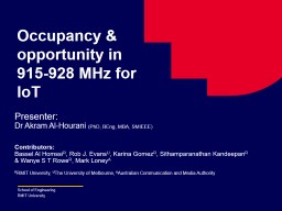 Occupancy & opportunity in 915-928 MHz for IoT