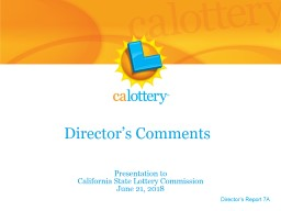 Director's Comments Presentation to
