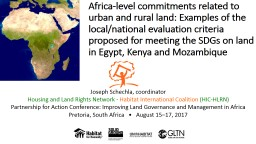 Africa-level commitments related to urban and rural land: Examples of the local/national evaluation