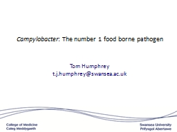 Campylobacter :   The number 1 food borne pathogen