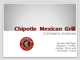 Chipotle Mexican Grill Company Analysis