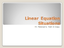 Linear Equation Situations