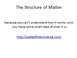 The Structure of Matter because you can't understand how it works until you have some small idea