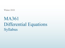 MA361  Differential Equations