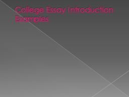 College Essay Introduction Examples