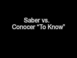 """Saber vs.  Conocer """"To Know"""""""