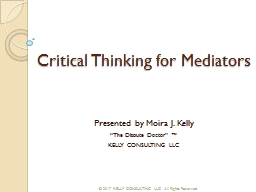 Critical Thinking for Mediators