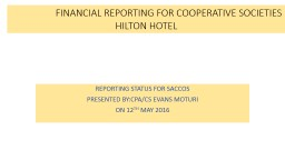 FINANCIAL REPORTING FOR COOPERATIVE SOCIETIES							HILTON HOTEL